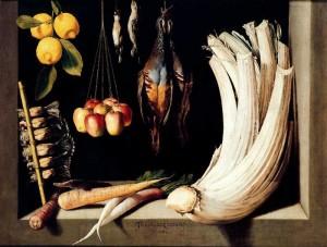 Bodegón de Caza y hortalizas_S_Cotán