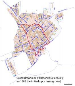 Casco urbano actual y en 1888
